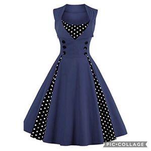 Dresses & Skirts - Rockabilly Vintage PolkaDot Pin Up Swing Dress XXL
